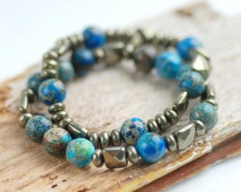 Blue Jasper Bracelet, Pyrite Bracelet, Fool's Gold, Stone Jewelry, Elastic Bracelet, Stretch Beaded Bracelet, Stacking Bracelets, Set of 2