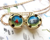 Mini Camping Adventure, Hand-Painted in Oil Enamel, One of a Kind Locket Necklace