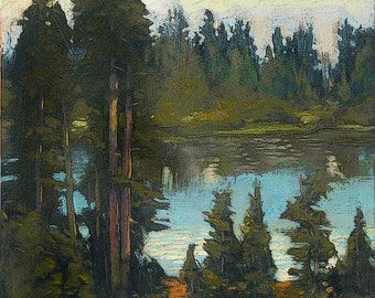 Above Back Country Pond - Giclee Fine Art PRINT of Original Painting matted 16x20 by Jan Schmuckal