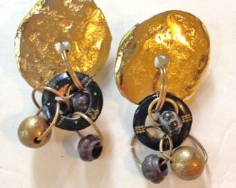 Big Earrings GOLD 80s Boho Jewelry
