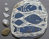 under the sea hand carved ceramic art tile
