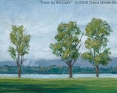 TREES by THE LAKE -- Original 5x7 inch plein air oil painting, by Diana Moses Botkin