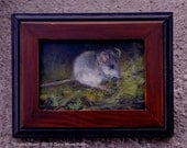 Miniature framed art -- COUNTRY MOUSE -- Original 2.25x3.25 inch whimsical oil painting by Diana Moses Botkin