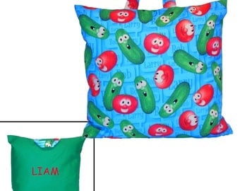 KIDS PERSONALIZED PILLOW - Made From Veggie Tales Bob and Larry Fabric - Great For Travel & Car Trips!