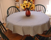 "Country BLUE CHECK Round TABLECOTH - 52"" Round - Fabric"