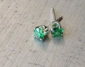Emerald Studs Sterling Post Earrings Cubic Zirconia
