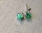 Emerald Studs Sterling Post Earrings Cubic Zirconia