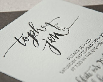 Wedding Invitation Sample, Calligraphy, Hand-lettered