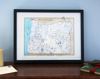 "Limited Edition Letterpress Art Print - ""Rivers of Oregon"" Map"