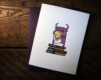 Letterpress Book Devouring Monster Card - single