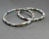 White Cloisonne Bangle Bracelets Vintage Bracelets Set of 2