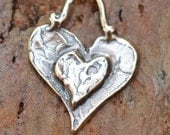 Artisan Layered Heart Charm in Sterling Silver, D208