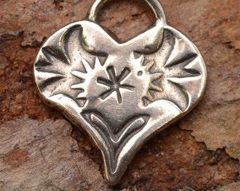 Southwest Heart Charm in Sterling Silver