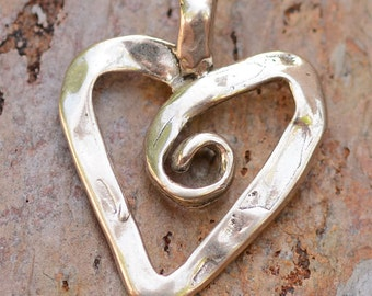 Artisan Ribbon Heart with Curly Q Sterling Silver Pendant AP-245