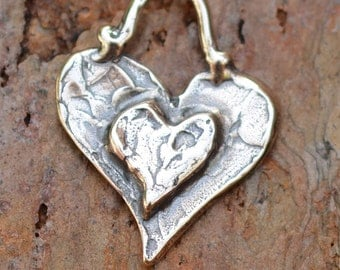 Artisan Layered Heart Charm in Sterling Silver, H-208