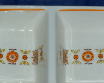 Vintage Floral Nut Dish Sauce Dish with Flowers Ceramic Candy Dish with Handle Orange and White Flowers