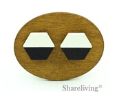 Buy 1 Get 1 Free - 20pcs 16mm Hexagon Wooden Cabochons, Wood Hand painted Black White Green Red Geometric Charm - HWC406K