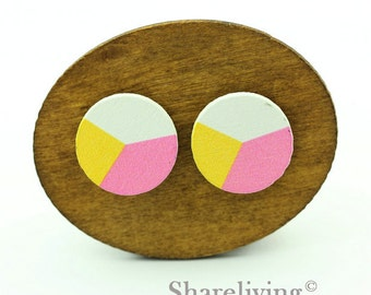 Buy 1 Get 1 Free - Colored Wooden Cabochon, Wooden Button, 12mm 15mm 20mm Round Pink Yellow White Wood Cabochon - HWC034K