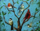 Birds painting 138 30x30 inch original cardinal bluejay birds portrait oil painting by Roz