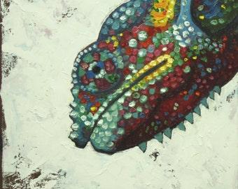 Lizard 3  12x12 inch original oil painting by Roz