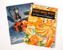 2 Vintage Advertising Recipe Booklets Cookbooks Sunkist Orange Recipes, Sunsweet Recipes 1940 - 1950 Ephemera Retro Collectibles Kitchen