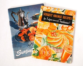 Sunkist Recipe Books, Advertising Cookbooks, Orange Booklets, Sunsweet Recipes, 1940s 1950s Ephemera, Retro Collectibles, Kitchen Book