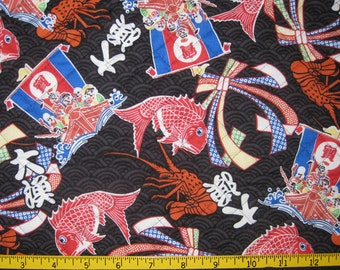 Lucky Japanese Symbols Pre Quilted Fabric Half Meter Cut Black