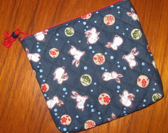 Quilted Travel Earring Cosmetic Pouch Rabbits Design Japanese Asian Fabric Navy