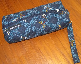 Cosmetic or Art Supplies Zippered Quilted Pouch Japanese Dragonfly Design with Wrist Strap Navy