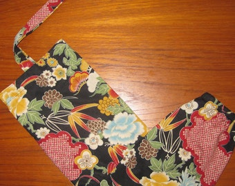 Floral Design Grocery Store Plastic Bag Dispenser Asian Japanese Fabric Black