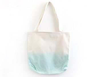 Light aqua dip dye cotton tote I