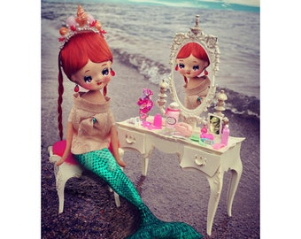 mermaid print 5 x 7 ocean pose doll DEEP SEA DREAMING