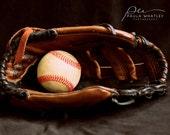 Baseball photo, boys room decor, baseball art, baseball glove art, baseball glove print, sports art, gym art, sports decor