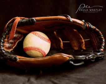 Baseball photo, boys room decor, baseball art, baseball glove art, baseball glove print, sports art, gym art, sports decor