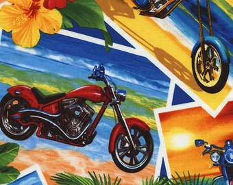 Motorcycle Fabric Summer Tropical Postcards with Motorcycles on the Beach Tropical Flowers Tropics By the yard