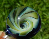 Lampwork Boro Glass Pendant - Focal Bead - VORTEX marble blue green
