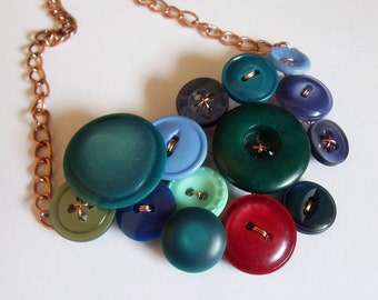 Vintage buttons bib necklace in jewel tones - greens, blues and red