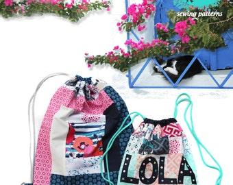 PDF pattern Instant Download Skopelos fabrics Patchwork - LOLA drawstring backpack bag by Katarina Roccella