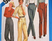 Vintage Sewing Pattern Simplicity 6433 Misses' Pants and Trousers  Size 10 Waist 25 Inches UNCUT Complete