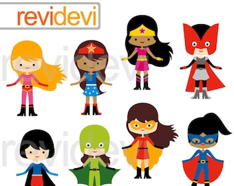 Superhero Girls team clipart, digital clip art, superhero digital images