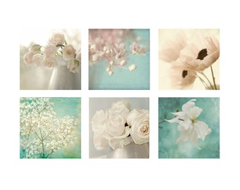 Six Ethereal Flower Prints, Art Print Set, Floral Still Life, Wedding Decor, Flower Photography, Shabby Chic Decor
