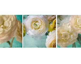 Floral Decor,  Ranunculus Print Set, Pastel Flower Photo Set, Floral Art Prints, Flower Wall Art, Peach Turquoise Wall Decor