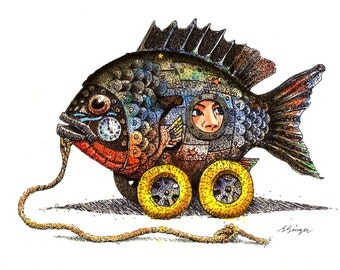 ORIGINAL Watercolor Pull Toy fish 8.5 x11 Cottage Decor Art 0.99 US SHIPPING by artist Barry Singer