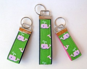 Key Fob - Pink and Green - Preppy - Whale - Wristlet Key Fob - Mini Key Fob