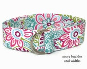 Women's Fabric Belt / White D-Ring / Gifts for Her / Wide Belt Skinny Belt / Floral Belt / Preppy Belt in XS to Plus Size / Flowers on White