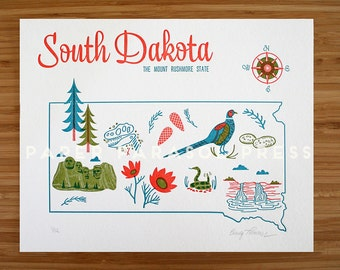 South Dakota Letterpress Print 8x10