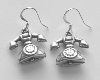 Retro Style Phone Earrings, 3D Telephone Charm Earrings, Vintage Phone Earrings, Silver Earrings, Rotary Phone Kitsch Earrings, SRAJD