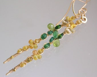 Sapphire Tsavorite Gold Filled Earrings, Linear Stems, Yellow, Green, Wire Wrapped, Artist Made, Original Design, Signature, Made to Order