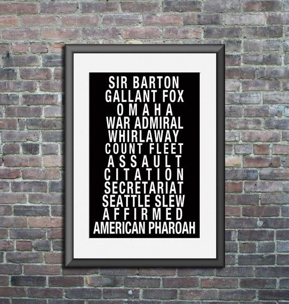 Triple Crown Winners Subway Poster Art Print horse racing typography wall art home decor kentucky derby black and white American Pharoah