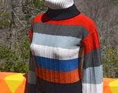 70s vintage turtleneck sweater STRIPE rainbow acrylic knit women's Small Medium 80s evian jrs